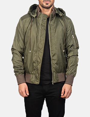 Men's Green Hooded Bomber Jacket