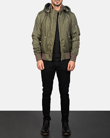 Men's Green Hooded Bomber Jacket 1