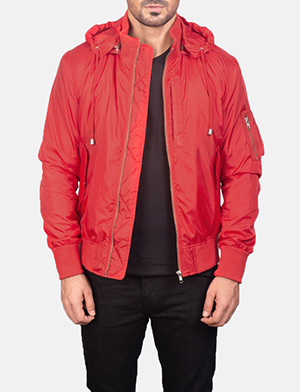 Men's Red Hooded Bomber Jacket