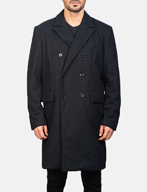 Men's Claud Black Wool Double Breasted Coat