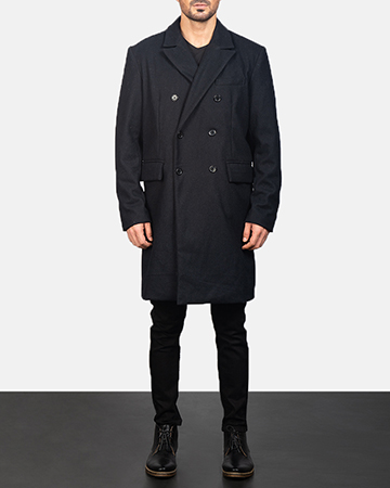 Men's Claud Black Wool Double Breasted Coat 1