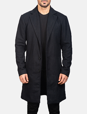 Men's Black Wool Single Breasted Coat