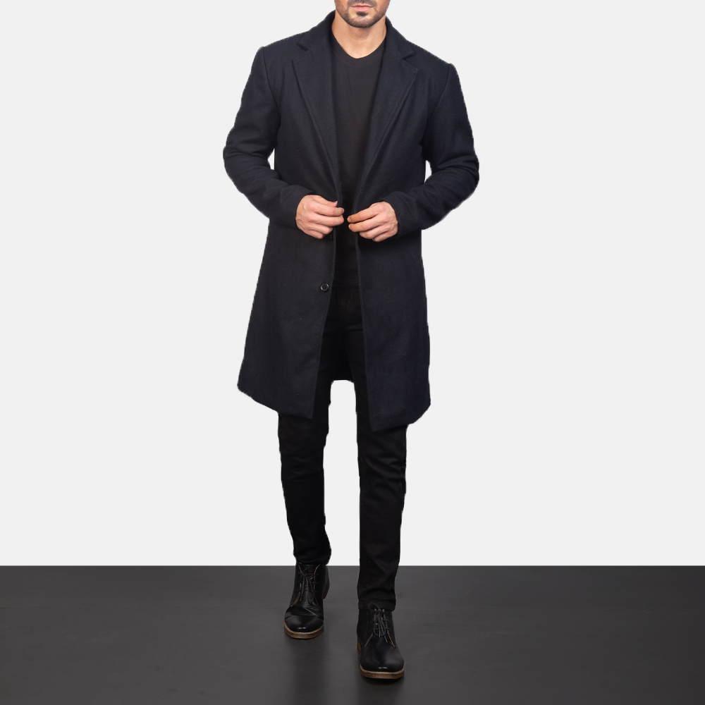 Men's Black Wool Single Breasted Coat 4