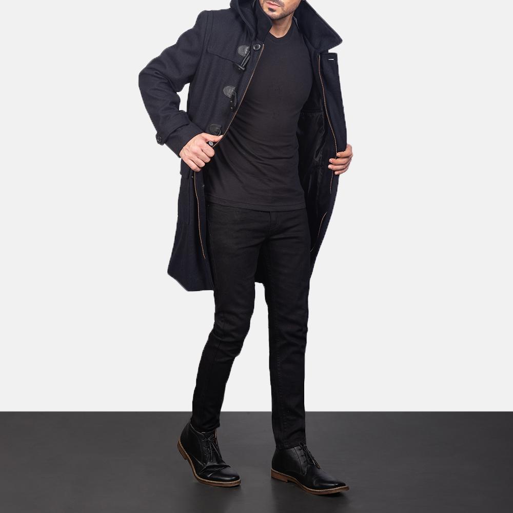 Men's Black Wool Duffle Coat 4