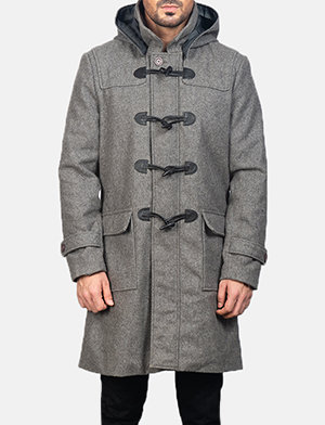 Men's Grey Wool Duffle Coat