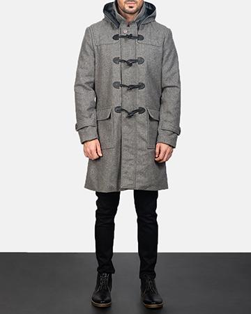 Men's Grey Wool Duffle Coat 1