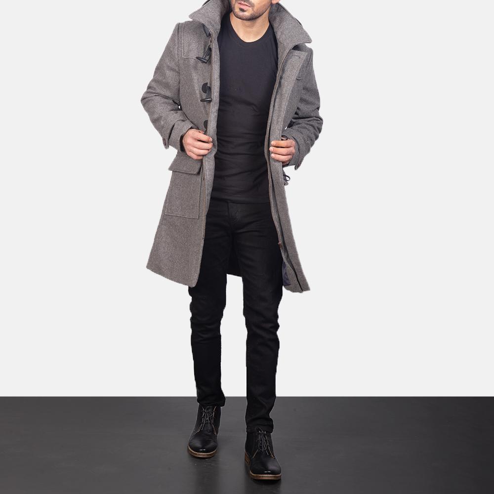 Men's Grey Wool Duffle Coat 4