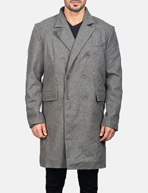 Men's Claud Grey Wool Double Breasted Coat