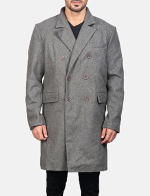 Men's Claud Grey Wool Double Breasted Coat