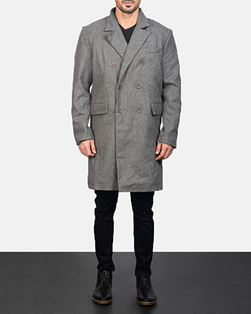 Men's Claud Grey Wool Double Breasted Coat 1