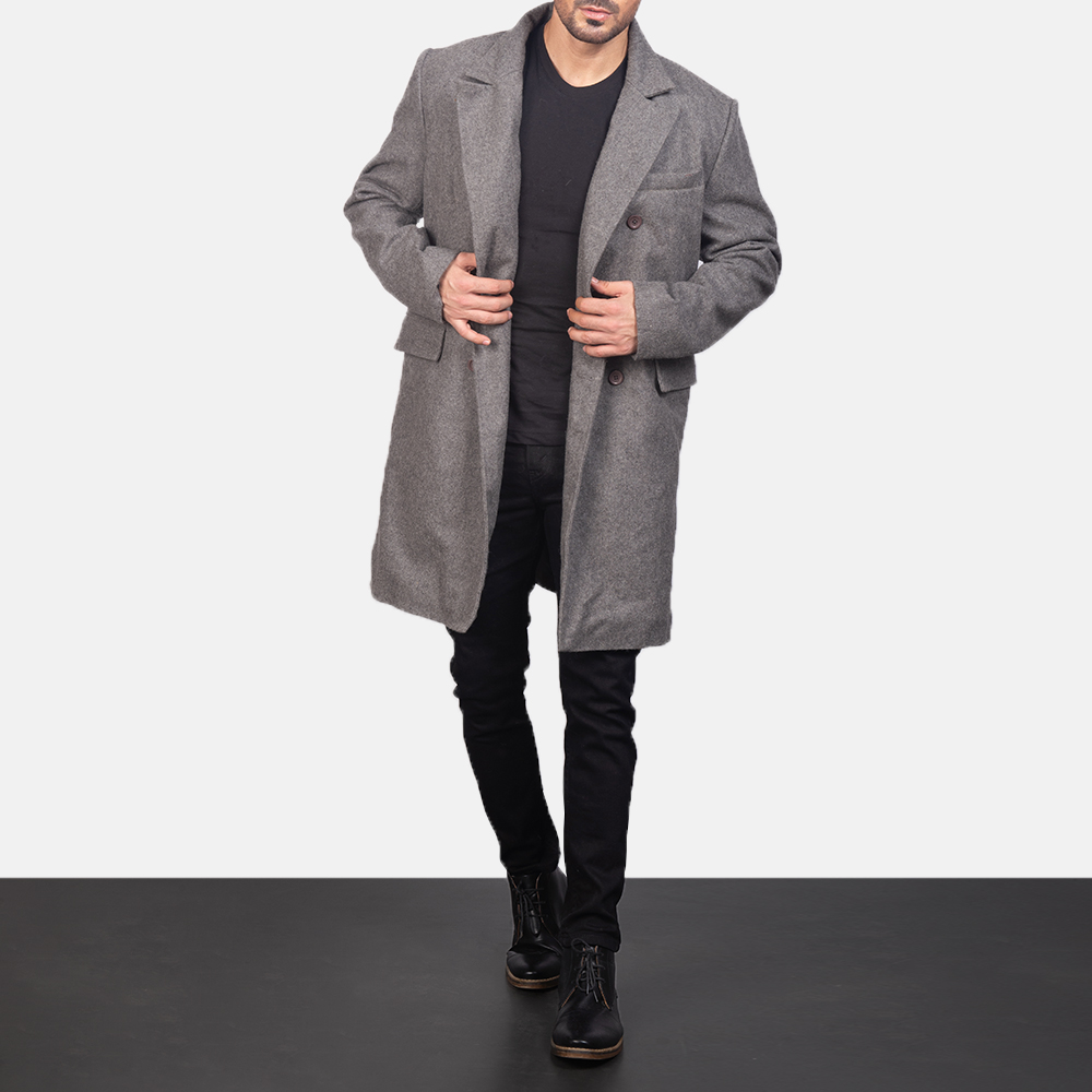 Men's Claud Grey Wool Double Breasted Coat 4