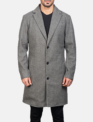 Men's Grey Wool Single Breasted Coat