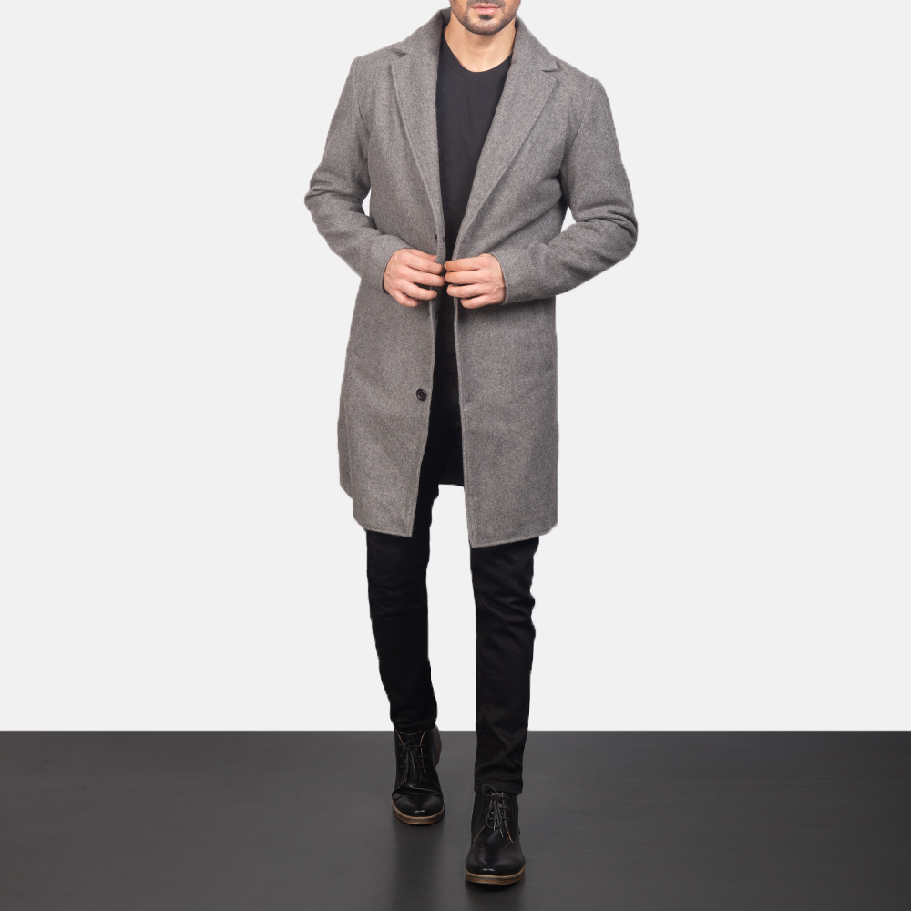 Men's Grey Wool Single Breasted Coat 4