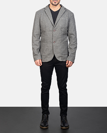 Men's Grey Wool Blazer 1