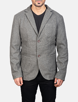 Men's Grey Wool Blazer