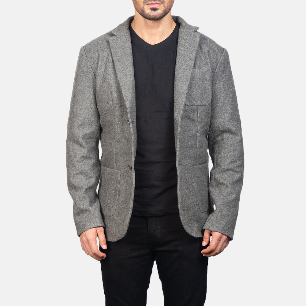 Men's Grey Wool Blazer 3