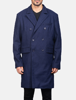 Men's Blue Wool Double Breasted Coat