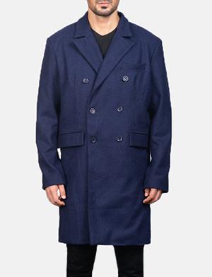 Men's Blue Wool Double Breasted Coat