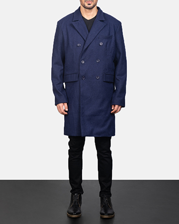 Men's Blue Wool Double Breasted Coat 1