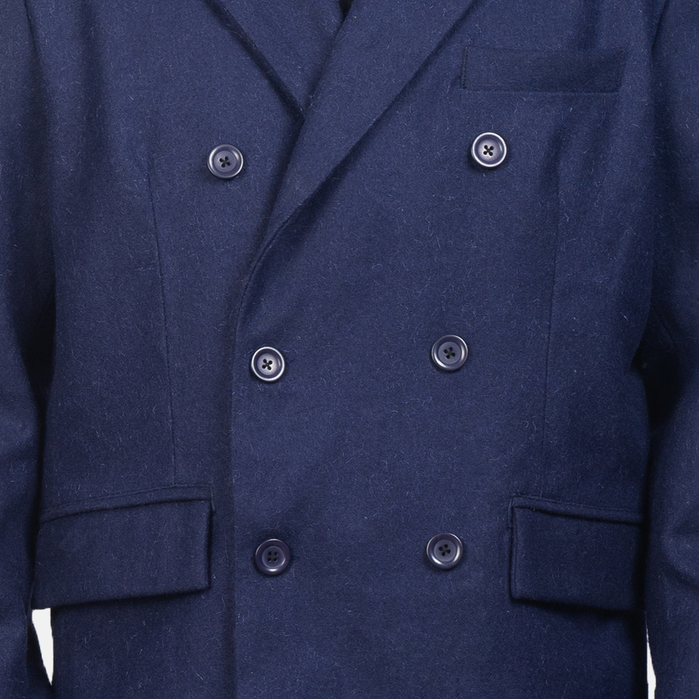 Men's Blue Wool Double Breasted Coat 4