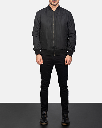 Men's Zack Black Bomber Jacket 1