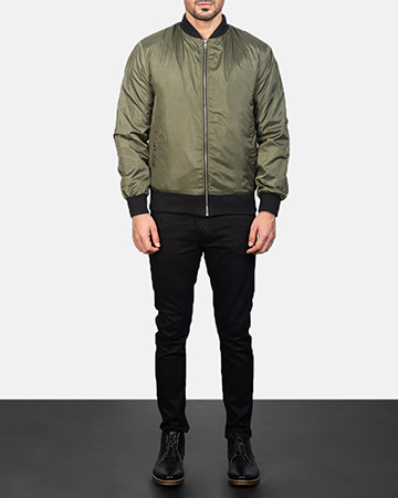 Men's Zack Green Bomber Jacket 1