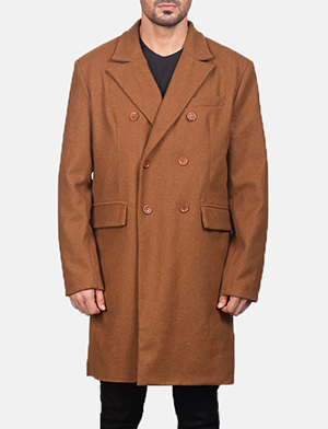Men's Claud Khaki Wool Double Breasted Coat