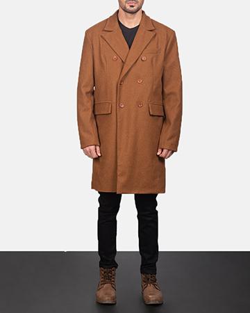 Men's Claud Khaki Wool Double Breasted Coat 1