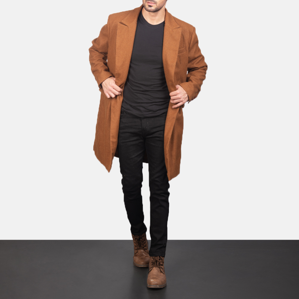 Men's Claud Khaki Wool Double Breasted Coat 4