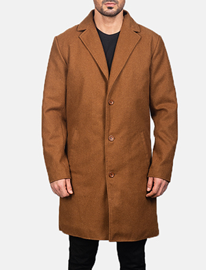 Men's Black Wool Single Breasted Coat