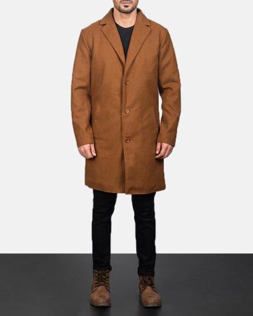 Men's Black Wool Single Breasted Coat 1