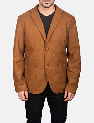 Men's Khaki Wool Blazer