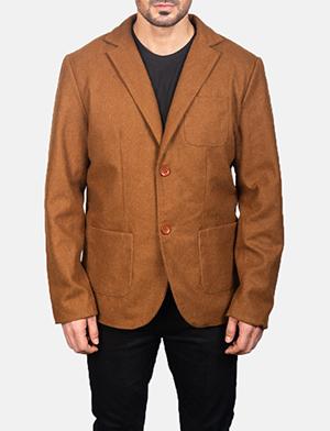 Men's Khaki Wool Blazer