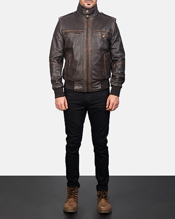 Mens Street Brown Leather Bomber Jacket 1