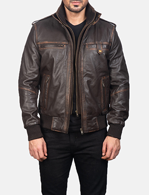 Mens Street Brown Leather Bomber Jacket