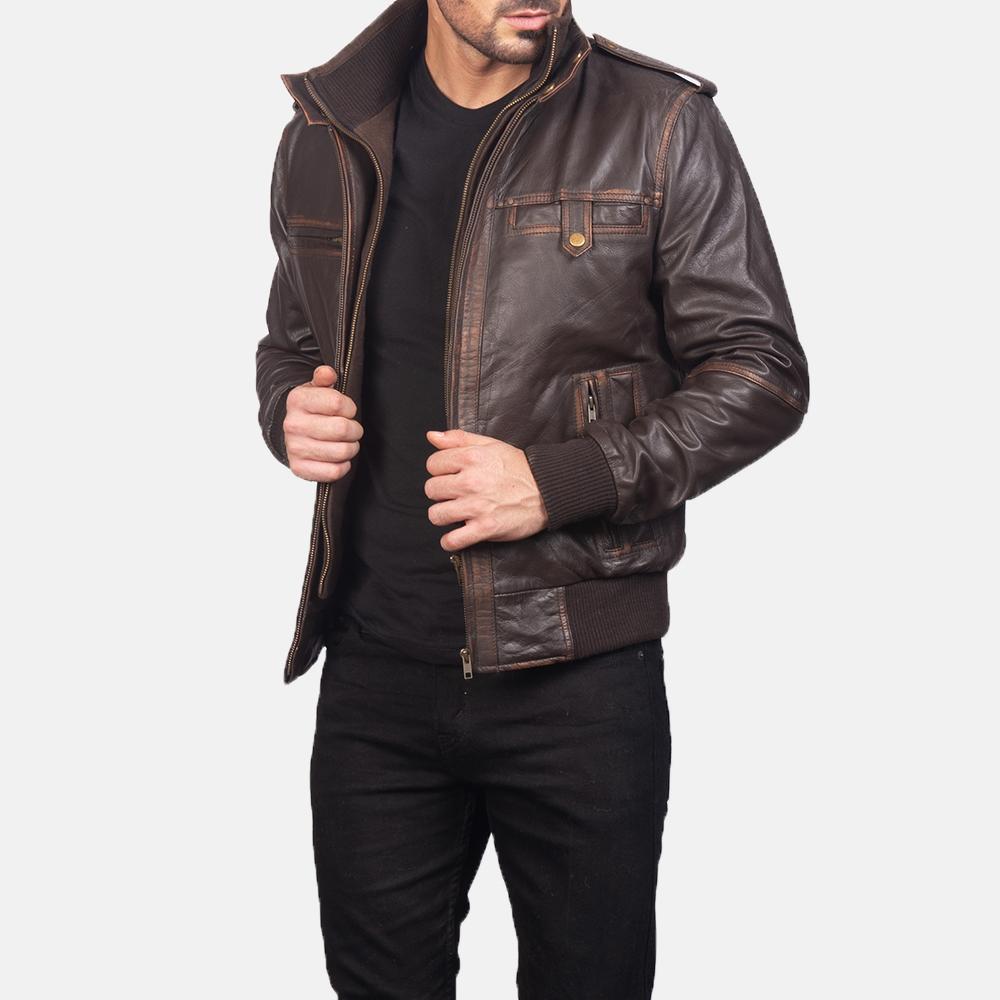Mens Street Brown Leather Bomber Jacket 2
