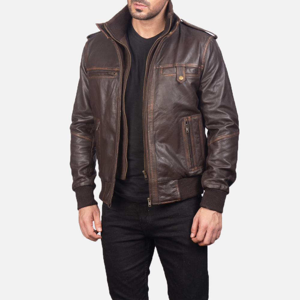 Glen Street Brown Leather Bomber Jacket