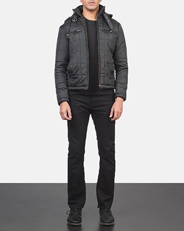 Men's Alps Quilted Black Windbreaker Jacket 1