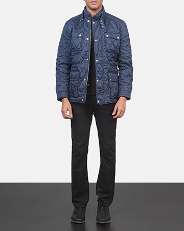 Men's Nelson Quilted Blue Windbreaker Jacket 1