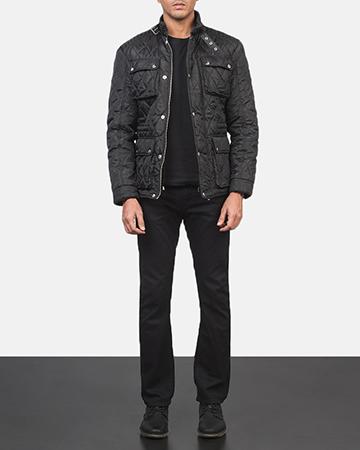 Men's Nelson Quilted Black Windbreaker Jacket 1