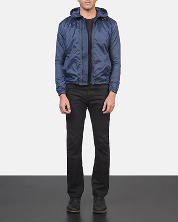 Men's Jimmy Blue Hooded Windbreaker Jacket 1