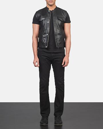 Men's Atlas Moto Black Leather Vest 1
