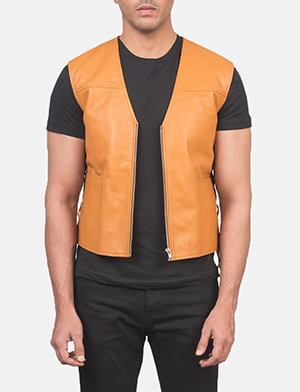 Men's Brandon Tan Brown Leather Vest