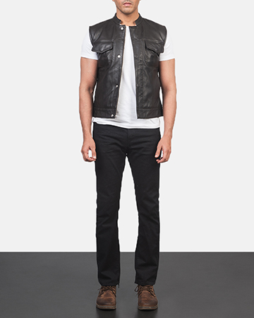 Men's Atlas Moto Brown Leather Vest 1
