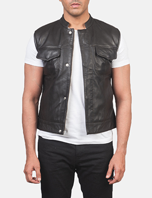 Men's Atlas Moto Brown Leather Vest