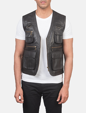 Men's Safari Brown Leather Vest