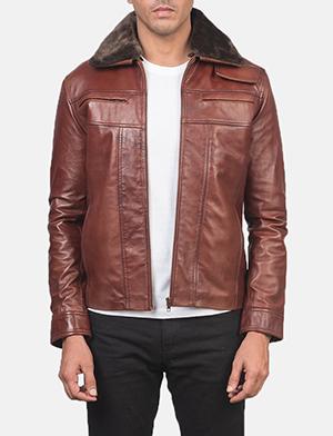 Mens Evan Hart Fur Brown Leather Jacket