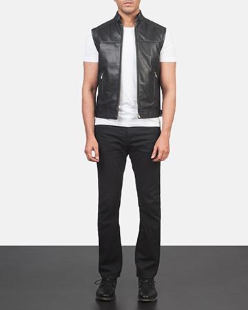 Men's Roland Black Leather Biker Vest 1