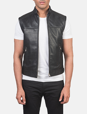 Men's Roland Black Leather Biker Vest