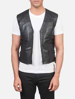 Men's Brandon Black Leather Vest